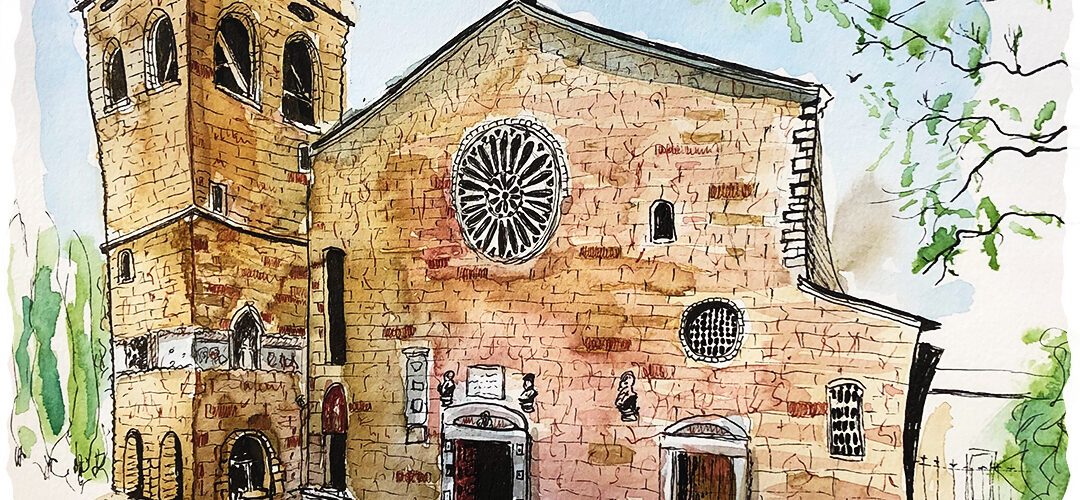 Drawing of the San Giusto Cathedral with watercolor